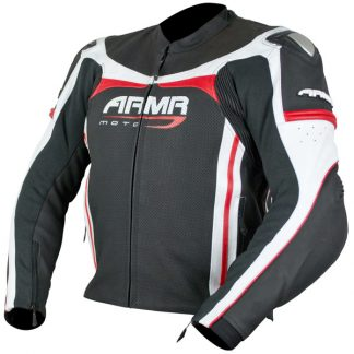 Armr Moto Raiden Leather Motorcycle Jacket Black/Red