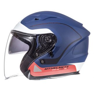 MT Avenue Open Face Motorcycle Helmet Matt Blue