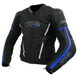 Armr Moto Raiden 2 Leather Motorcycle Jacket Blue