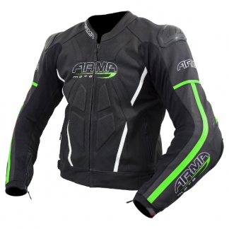 Armr Moto Raiden 2 Leather Motorcycle Jacket Green
