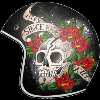 MT Le Mans Skull & Roses Motorcycle Helmet Black
