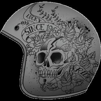MT Le Mans Skull & Roses Motorcycle Helmet Matt Grey