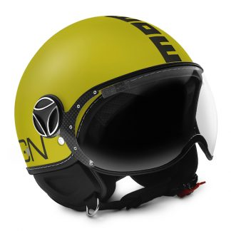 Momo Fighter Classic Motorcycle Helmet Matt Yellow
