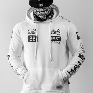 Ride Rich GP Scoop Motorcycle Hoodie White