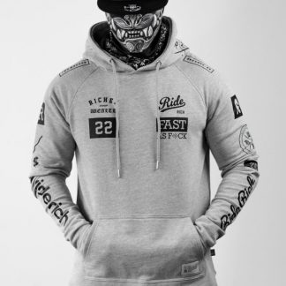 Ride Rich GP Scoop Motorcycle Hoodie Grey