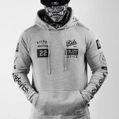 Ride Rich GP Scoop Motorcycle Hoodie Grey