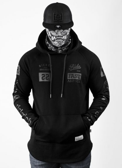 Ride Rich GP Scoop Motorcycle Hoodie Black
