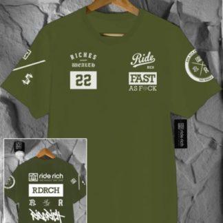 Ride Rich GP T Shirt Army Green