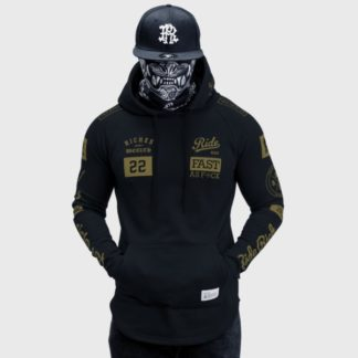 Ride Rich GP Scoop Motorcycle Hoodie Gold